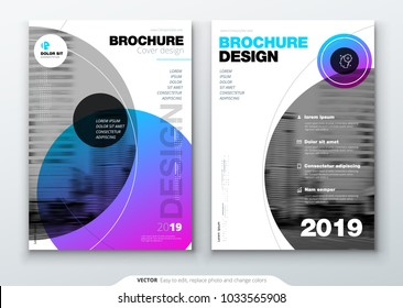 Brochure template layout, cover design annual report, magazine, flyer or booklet in A4 with color circle shapes in swiss or magna style. Vector Illustration.