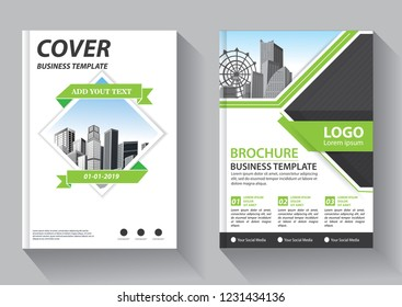 Brochure template layout, cover design annual report, magazine, flyer or booklet in A4 with green geometric shapes on polygonal background