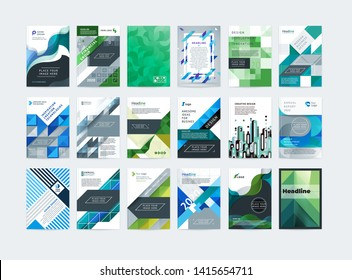 Brochure template layout, cover design. A large set of different design templates of modern multi-colored A4 covers for brochures, magazines, booklets, posters, annual reports, websites. Vector design