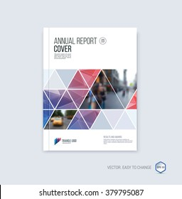 Brochure template layout, cover design annual report, magazine, flyer or booklet in A4 with blue red geometric shapes on polygonal background. Vector Illustration.