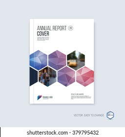 Brochure template layout, cover design annual report, magazine, flyer or booklet in A4 with blue red geometric hexagonal shapes on polygonal background. Vector Illustration.