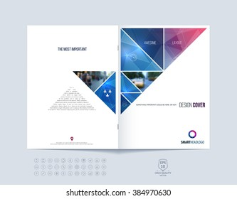 Brochure template layout, cover design annual report, magazine, flyer or booklet in A4 with red and blue dynamic triangular geometric shapes on polygonal background. Vector Illustration.