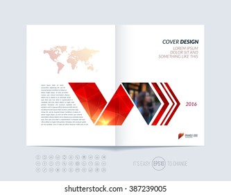 Brochure template layout, cover design annual report, magazine, flyer or booklet in A4 with red dynamic arrows and geometric shapes on polygonal background. Vector Illustration.