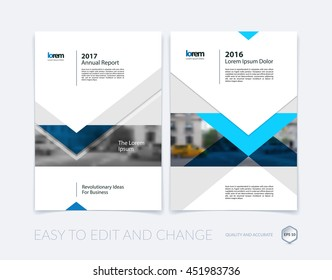 Brochure template layout, cover design annual report, magazine, flyer or leaflet in A4 with blue arrows, triangles with overlap effect for business with industrial and modern concept. Vector set.