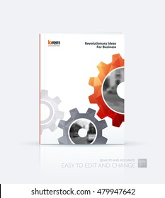 Brochure template layout, cover design annual report, flyer, leaflet in A4 with red gear and polygonal background with overlap effect for engineering, construction and hi-tech. Creative vector.