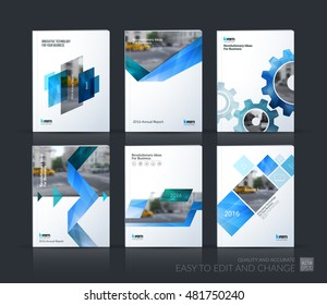 Brochure template layout, cover design annual report, magazine, flyer, leaflet in A4 with blue gear, triangles, arrow, ribbon with overlap effect for business and technology. Vector mega set.