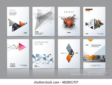 Brochure template layout, cover design annual report, magazine, flyer in A4 with grey yellow polygonal triangles, 3d mesh polygons, rounds, lines, explosion for business and sale shopping. Vector set.