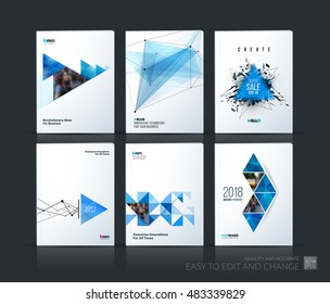 Brochure template layout, cover design annual report, magazine, flyer in A4 with blue polygonal triangles, 3d mesh polygons, rounds, lines, explosion for business and sale shopping. Vector set.