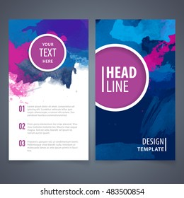Brochure template layout, cover design, annual report, magazine, flyer. Watercolor background.