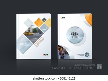 Brochure template layout, cover design annual report, magazine, flyer, leaflet in A4 with grey yellow square, rhombus and circle with overlap effect for business and building. Vector creative set.