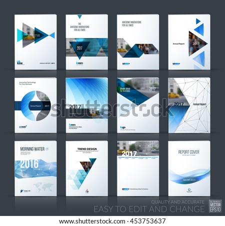 Brochure template layout, cover design annual report, magazine, flyer, leaflet in A4 with blue triangle, arrow, circle, ribbon with overlap effect for business and construction. Vector big mega set.