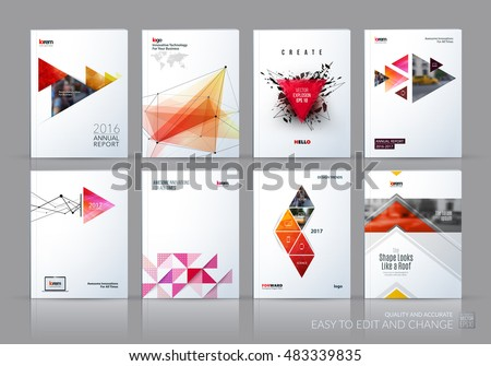 Brochure template layout, cover design annual report, magazine, flyer in A4 with blue red polygonal triangles, 3d mesh polygons, rounds, lines, explosion for business and sale shopping. Vector set.