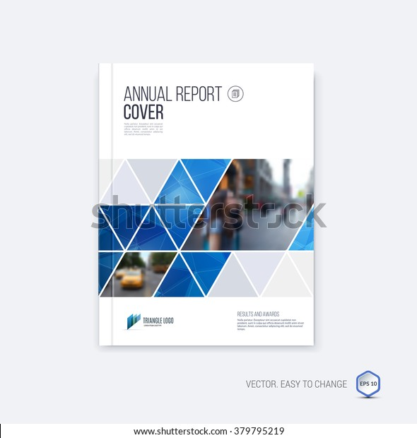 Brochure template layout, cover design annual report, magazine, flyer or booklet in A4 with blue geometric shapes on polygonal background. Vector Illustration.