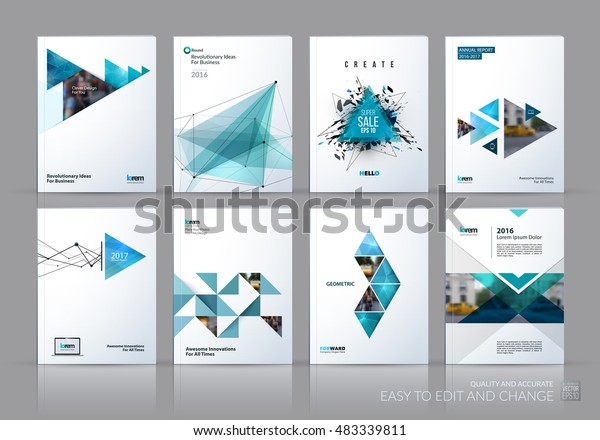 Brochure template layout, cover design annual report, magazine, flyer in A4 with green polygonal triangles, 3d mesh polygons, rounds, lines, explosion for business and sale shopping. Vector set.