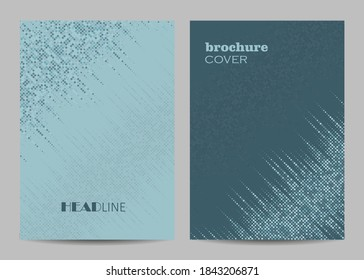 Brochure template layout design. Abstract gray dotted background.