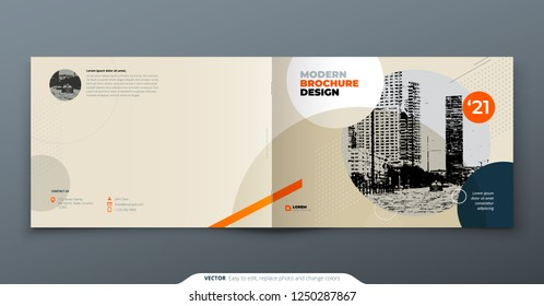 Brochure template layout design. Corporate business annual report, catalog, magazine, brochure, flyer mockup. Creative modern bright concept in memphis style