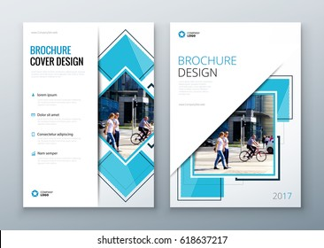 Brochure template layout design. Corporate business annual report, catalog, magazine, flyer mockup. Creative modern concept with squares, rombs and urban styled photo.