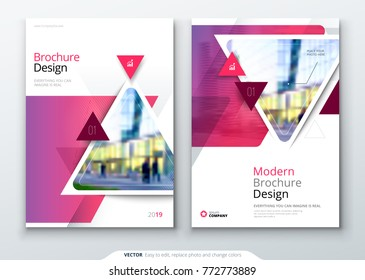Brochure template layout design. Corporate business annual report, catalog, magazine, flyer mockup. Creative modern bright concept with triangle shapes and lines