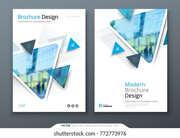 Brochure template layout design. Corporate business annual report, catalog, magazine, flyer mockup. Creative modern bright cover concept with triangles, geometric shapes