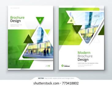 Brochure template layout design. Corporate business annual report, catalog, magazine, flyer mockup. Creative modern bright concept triangular shape
