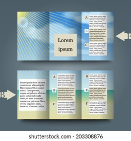 Brochure template with summer background. Eps10 Vector illustration