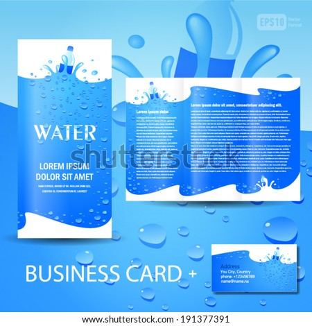 Brochure template water aqua splash bottle stockvektor for Water brochure template