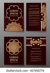 Brochure templates cards with arabic mandala background.