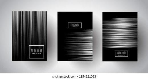 Brochure templates with elegant silver stripe designs