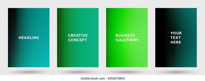 Brochure templates vector set. Grunge halftone pattern covers. Noise halftone texture title pages geometric design. Gradient backgrounds cover page layouts. Nise dots texture composition.