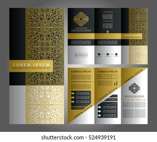Brochure Vector Design, Flyer Creative Template, Trifold Blue Layout with Islamic Style Ornaments and Logo