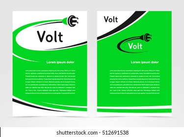 Brochure volt electric template design cover, flyer print size A4 booklet business report, silhouette cable plug voltage