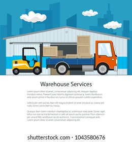 Brochure of Warehouse and Delivery Services , Forklift Truck and Small Cargo Car with Boxes , Unloading or Loading of Goods and Text, Poster Flyer Design, Vector Illustration