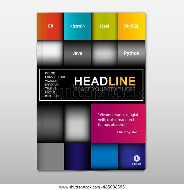 Brochurebookflyer Cover Design Rectangle Style Computer