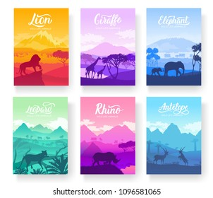 Brochures with African animals in natural habitat. Set of flyers with wildlife in the sunset of the day. Template of magazines, poster, book cover, banners. Landscape invitation concept