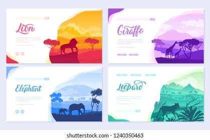 Brochures with African animals in natural habitat. Set of flyers with wildlife in the sunset of the day. Template of flyear, web banner, ui header, enter site. Layout illustration modern slider