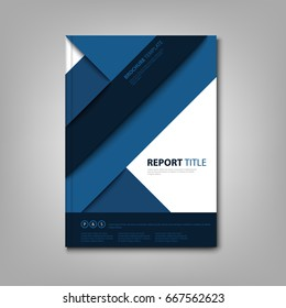 Brochures book or flier with blue abstract stripes template