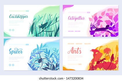 Brochures with insects in the microcosm. set of flyers with beetles in the environment. Template of flyear, web banner, ui header, enter site. Invitation concept background. Layout modern slider
