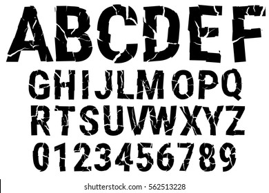Brocken font. Decorative alphabet. A-Z, 0-9. Vector illustration