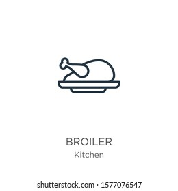 Broiler icon. Thin linear broiler outline icon isolated on white background from kitchen collection. Line vector sign, symbol for web and mobile