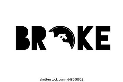 Broke money concept. Dollar coin broken. Vector illustration. No money Bankruptcy idea.