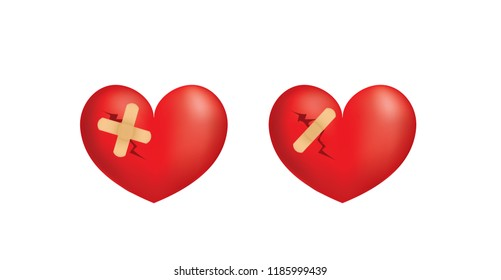 Broken 3d heart. vector illustration