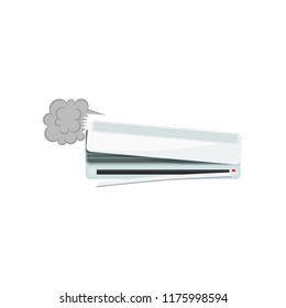 Broken air conditioner, damaged home appliance vector Illustration on a white background