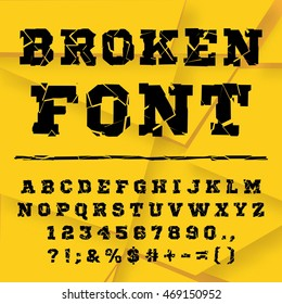 Broken alphabet. Broken font. Full set.