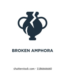 Broken Amphora icon. Black filled vector illustration. Broken Amphora symbol on white background. Can be used in web and mobile.