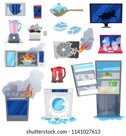 Broken appliance vector damaged homeappliances or burnt electrical household equipment in fire illustration set of burnt-out refrigerator or washing machine in damage isolated on white background