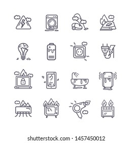 Broken Appliances Black Thin Line Icon Set Include of Tv, Phone and Laptop. Vector illustration of Icons