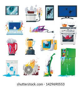 Broken appliances, home damaged equipment and gadgets. Vector flat style cartoon faulty appliances illustration isolated on white background