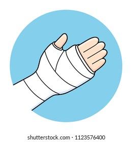 Broken arm, bone fracture, orthopedic plaster cast, trauma rehabilitation icon.