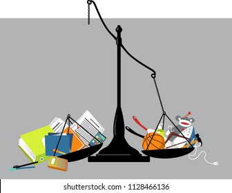 Broken balance scales with office tools on one pan and home-related items on another, representing a work-life balance disturbed, EPS 8 vector illustration