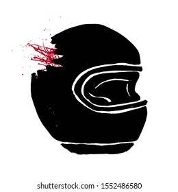 Broken biker helmet doodle icon. Motorcycle accident concept. Grunge hand-drawn illustration of helmet with red blood. Fatal accident with a car vector design.